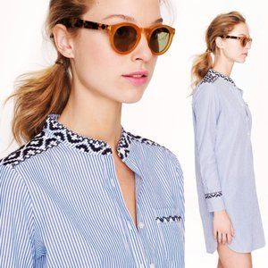 J Crew Embroidered Striped Tunic Shirt Top Large